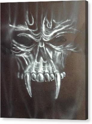 Creepy Canvas Print - Lurking Skull by Shelby Rawlusyk