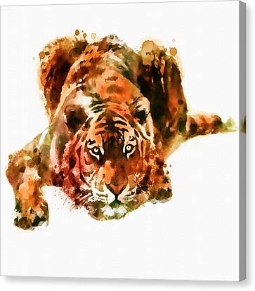 Portraits Of Cats Canvas Print - Lurking Tiger by Marian Voicu