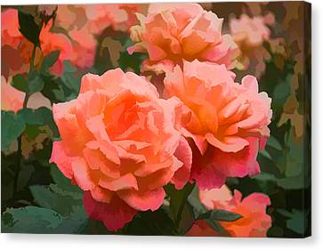 Luscious Fragrant Roses - Impressions Of June Canvas Print by Georgia Mizuleva