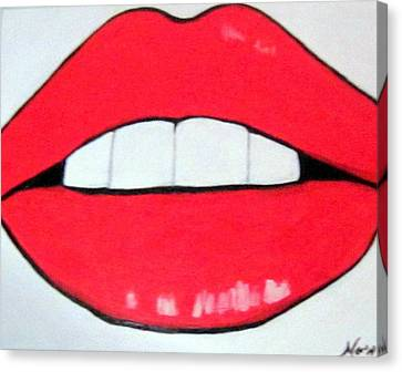 Canvas Print featuring the painting Luscious Lips by Nora Shepley