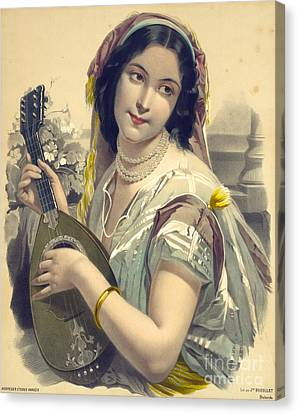 Lute Canvas Print - Lute Player 1850 by Padre Art