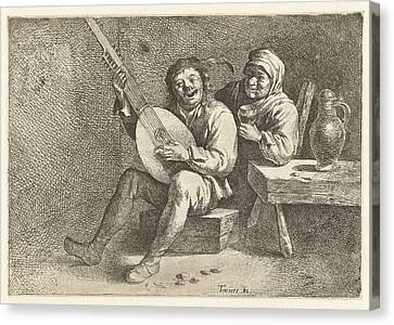 Lute Player And Old Woman, David Teniers II Possibly Canvas Print by David Teniers Ii And Cornelis Pietersz. Bega