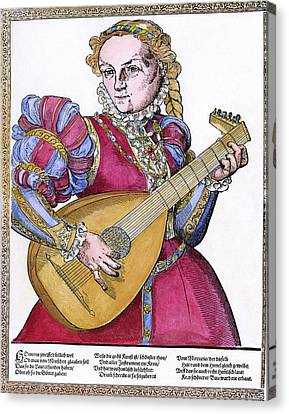 Lutenist, 16th Century Canvas Print by Granger