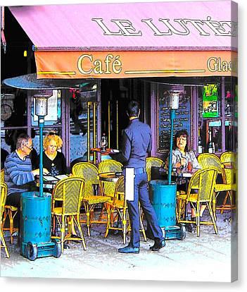 Cafe Lutetia Ile Saint Louis Paris Canvas Print by Jan Matson