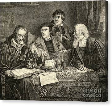 Luther Melancthon Pomeranus And Cruciger Translating  Canvas Print by English School