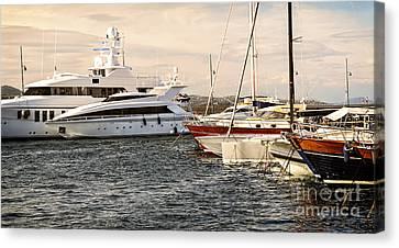 Luxury Boats At St.tropez Canvas Print by Elena Elisseeva