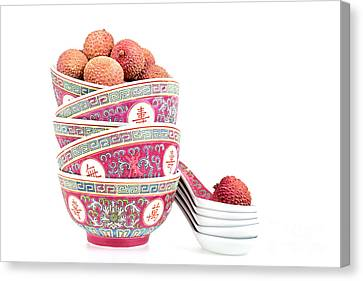 Lychees In Bowls With Spoons Canvas Print by Jane Rix