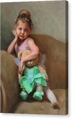 Dancer Canvas Print - Lydia And Tinker Bear by Anna Rose Bain