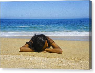 Lying On The Beach Canvas Print by Aged Pixel
