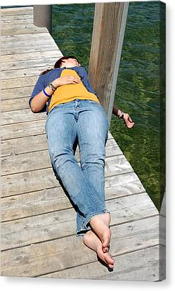 Lying On The Dock Canvas Print by Tamyra Crossley