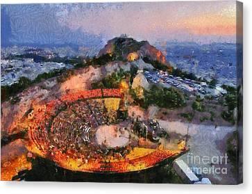 Theater On Lycabettus Hill Canvas Print by George Atsametakis