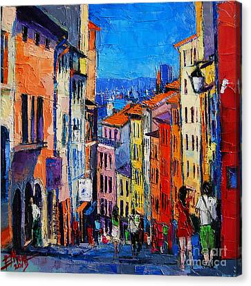 Lyon Colorful Cityscape Canvas Print by Mona Edulesco