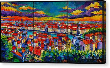 Yellow Building Canvas Print - Lyon Panorama Triptych by Mona Edulesco