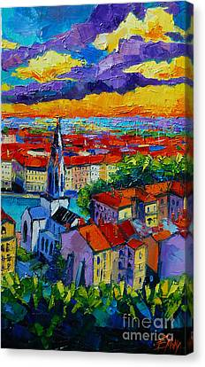 Yellow Building Canvas Print - Lyon View 3 by Mona Edulesco