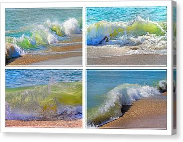 Green Energy Canvas Print - Lyrical Literacy Of Waves by Betsy Knapp