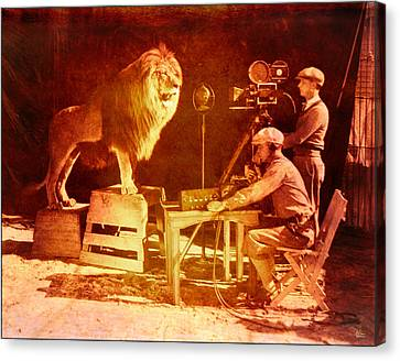 M G M Filming Of Leo The Lion Production Logo 1917 To 1928 Canvas Print by Douglas MooreZart