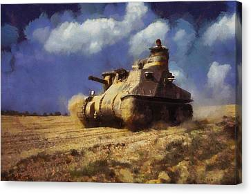 Canvas Print featuring the painting M3 Lee Tank by Kai Saarto