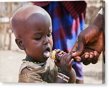Maasai Child Trying To Eat A Lollipop In Tanzania Canvas Print by Michal Bednarek