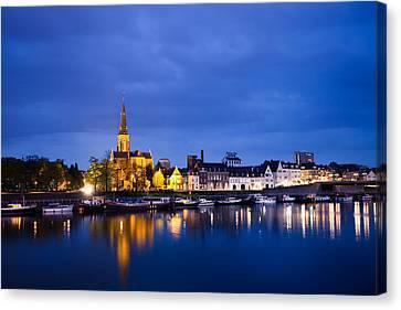 Maastricht Sint-martinuskerk And Maas River Canvas Print by Marc Garrido