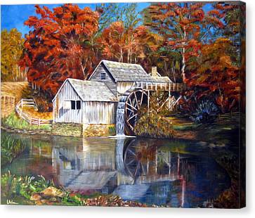 Canvas Print featuring the painting Mabry Mill Blue Ridge Virginia by LaVonne Hand