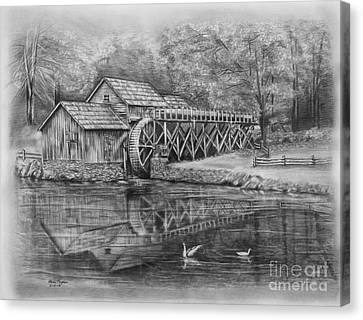 Mabry Mill Pencil Drawing Canvas Print by Lena Auxier