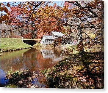 Mabry's Mill In October Canvas Print by Angelia Hodges Clay