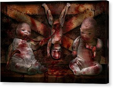 Macabre - Dolls - Having A Friend For Dinner Canvas Print by Mike Savad