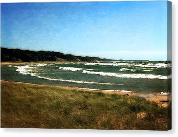 Macatawa Beach With Waves Canvas Print by Michelle Calkins