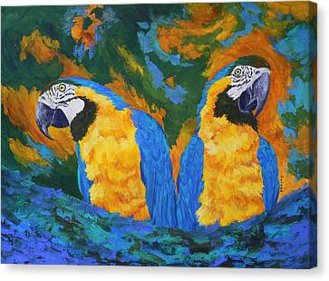 Canvas Print featuring the painting Macaw Mates by Margaret Saheed