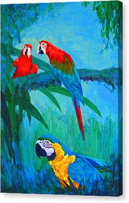 Canvas Print featuring the painting Macaw Trio by Margaret Saheed