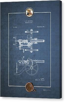 Machine Gun - Automatic Cannon By C.e. Barnes - Vintage Patent Blueprint Canvas Print by Serge Averbukh