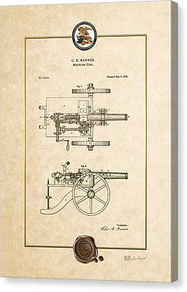 Machine Gun - Automatic Cannon By C.e. Barnes - Vintage Patent Document Canvas Print by Serge Averbukh