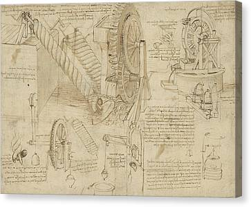 Machines To Lift Water Draw Water From Well And Bring It Into Houses From Atlantic Codex  Canvas Print by Leonardo Da Vinci