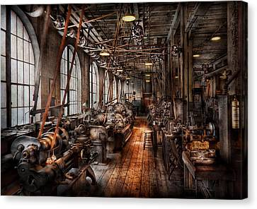 Machinist - A Fully Functioning Machine Shop  Canvas Print by Mike Savad