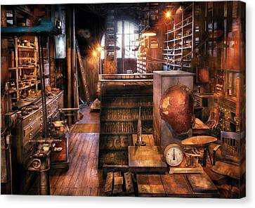 Machinist - Ed's Stock Room Canvas Print by Mike Savad
