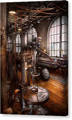Machinist - Industrial Drill Press  Canvas Print by Mike Savad
