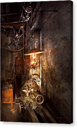 Tool Maker Canvas Print - Machinist - Lathe - The Corner Of An Old Workshop by Mike Savad