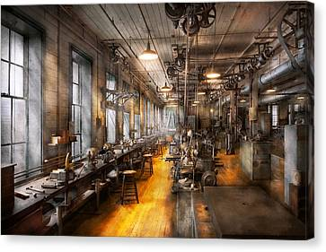 Machinist - Santa's Old Workshop Canvas Print by Mike Savad