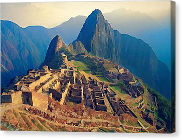 Machu Picchu Late Afternoon Sunset Canvas Print by Elaine Plesser