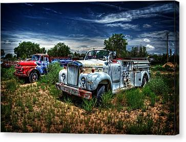 Canvas Print featuring the photograph Mack Fire Truck And Graffiti Fire Truck by Ken Smith