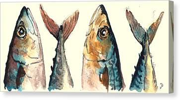 Fish Canvas Print - Mackerel Fishes by Juan  Bosco