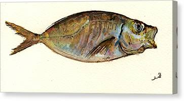 Fish Canvas Print - Mackerel Scad by Juan  Bosco