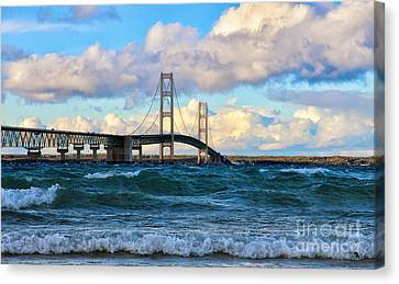 Mackinac Among The Waves Canvas Print