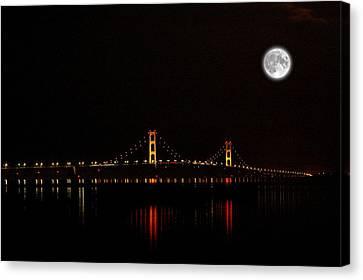 Mackinac Bridge And Moon Canvas Print