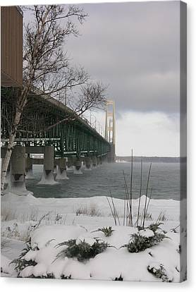 Mackinac Bridge At Christmas Canvas Print