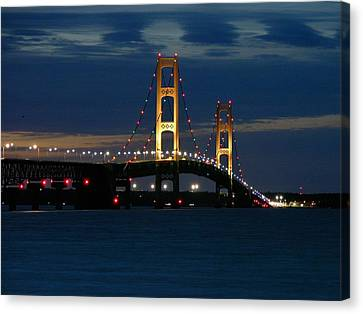 Mackinac Bridge At Dusk Canvas Print
