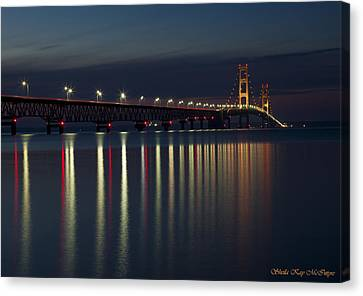 Mackinac Bridge At Night Canvas Print