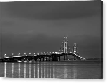 Mackinac Bridge Black And White Canvas Print by Sebastian Musial