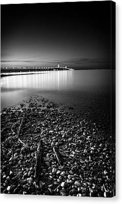 Canvas Print featuring the photograph Mackinac Bridge Bw by Larry Carr