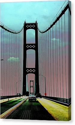 Mackinac Bridge Fantasy Canvas Print by Terri Harper